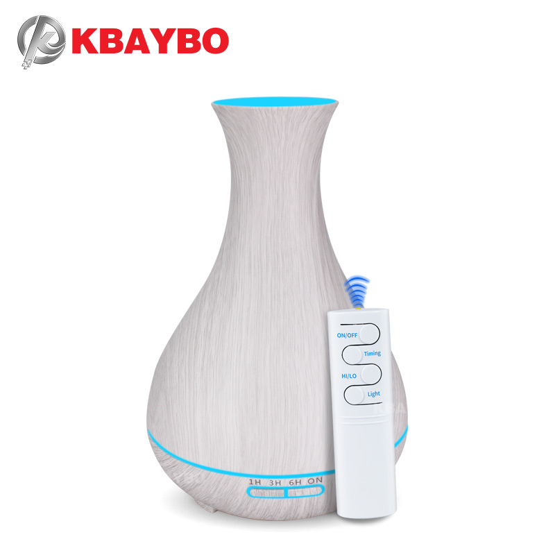 550ml Remote Control Essential Oil Diffuser White Wood Grain Ultrasonic Aroma Cool Mist Humidifier For Office Bedroom Baby Room