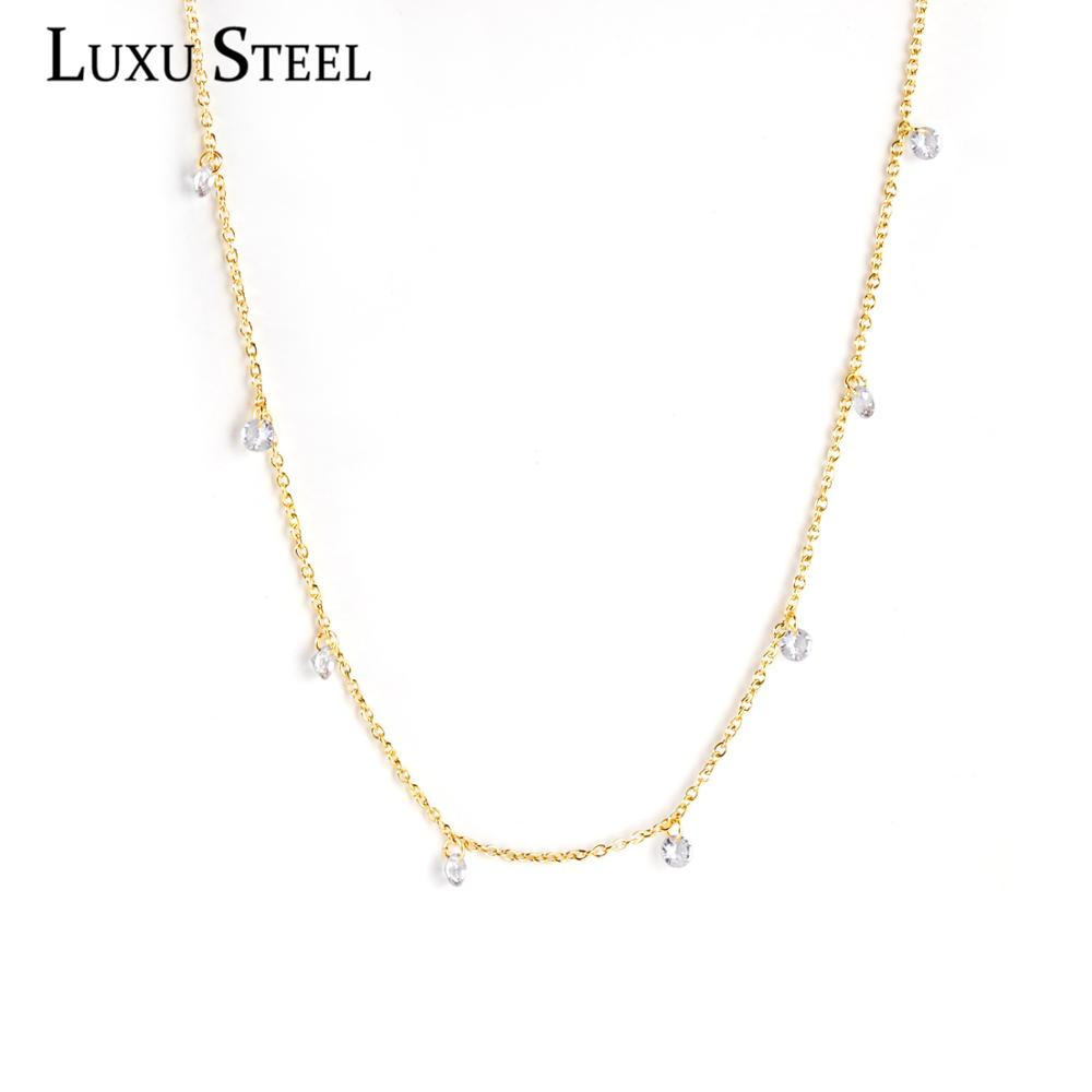 LUXUSTEEL Gold Color Round CZ Pendant Necklace Collars Jewelry Stainless Steel Link Chains Necklaces Wedding Accessories