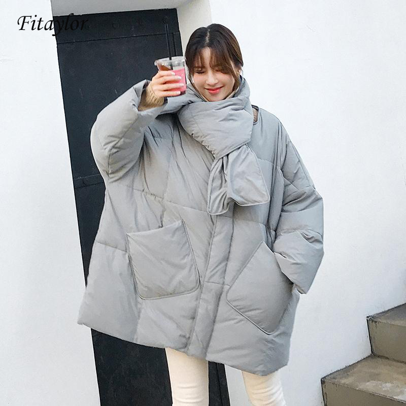 Fitaylor New Winter Jacket Women 90% Duck Down Coat Loose Warm Parkas Female With Scarf Medium Long Down Jacket
