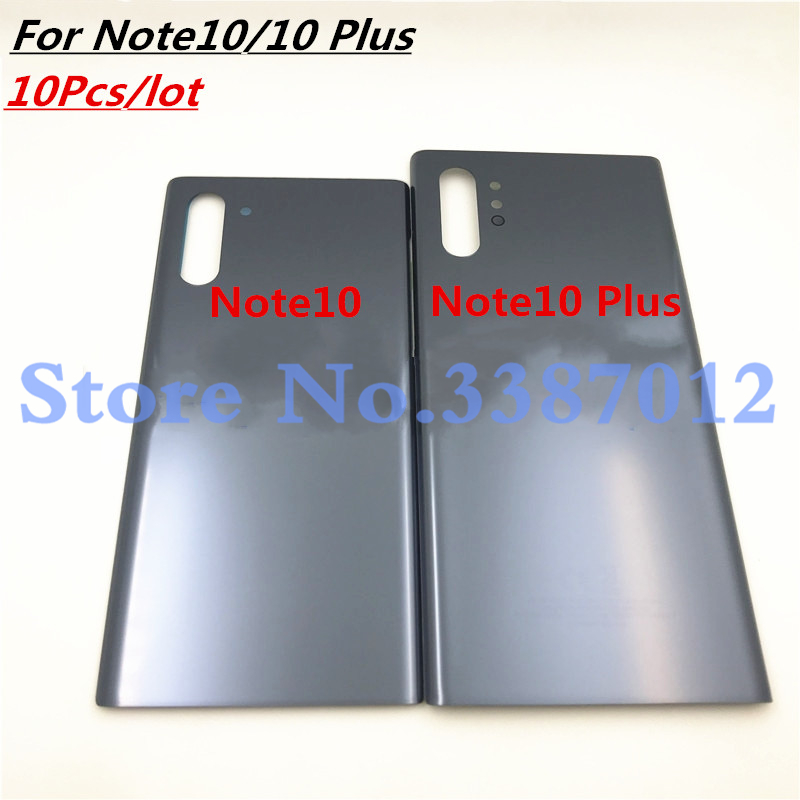 10Pcs For Samsung Galaxy Note 10 Battery Cover Door Back Housing Rear Case For Note 10 Plus Glass Battery Door +Adhesive Sticker