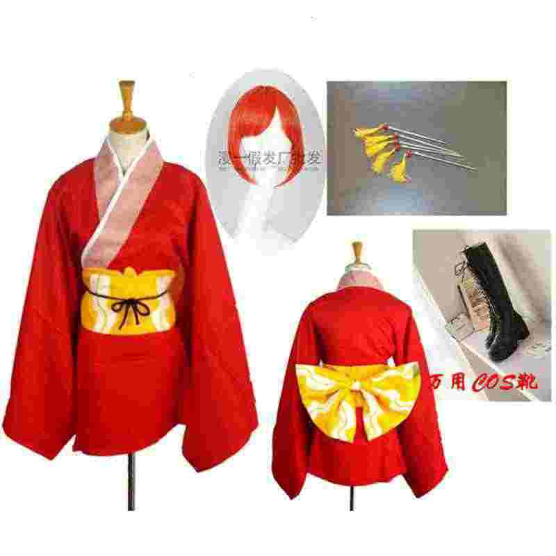 Amine Gintama Kouka Kagura Cosplay Kustom Dewasa Ukuran Pernikahan Gaun Gantung Poros Meningkatkan Kimono Seragam Kostum Cosplay