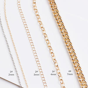 Necklace Chain Jewelry-Accessories Silver Gold Oval Flat for Diy 1meters