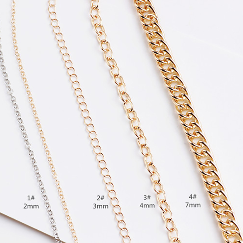 2meters Gold Or Silver Necklace Chain Flat Oval Link Chains For Jewelry Making Diy Jewelry Accessories