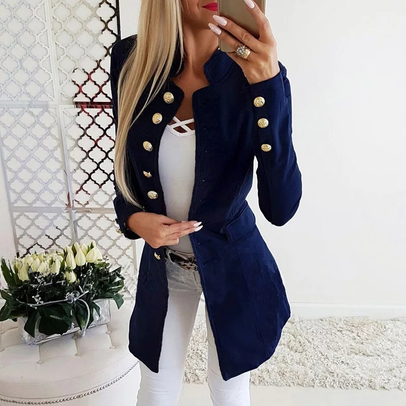 Fashion Office Ladies Solid Women Jacket Long Sleeve Slim Suit Coat Long Jacket Women Coat Plus Size Female Dropshipping Top