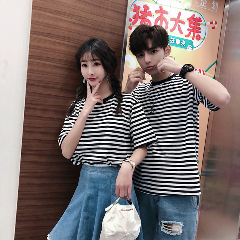 2019 Summer Fashion Brief Stripe Couples T Shirt Korea Style Teen Hip Hop Clothes Balck White Stripe Funny All-match Streetwear
