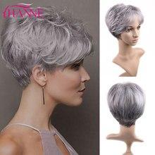 HANNE kısa sentetik peruk Mix kahverengi sarışın el yapımı dantel üst peruk yüksek sıcaklık Fiber peruk siyah/beyaz kadınlar