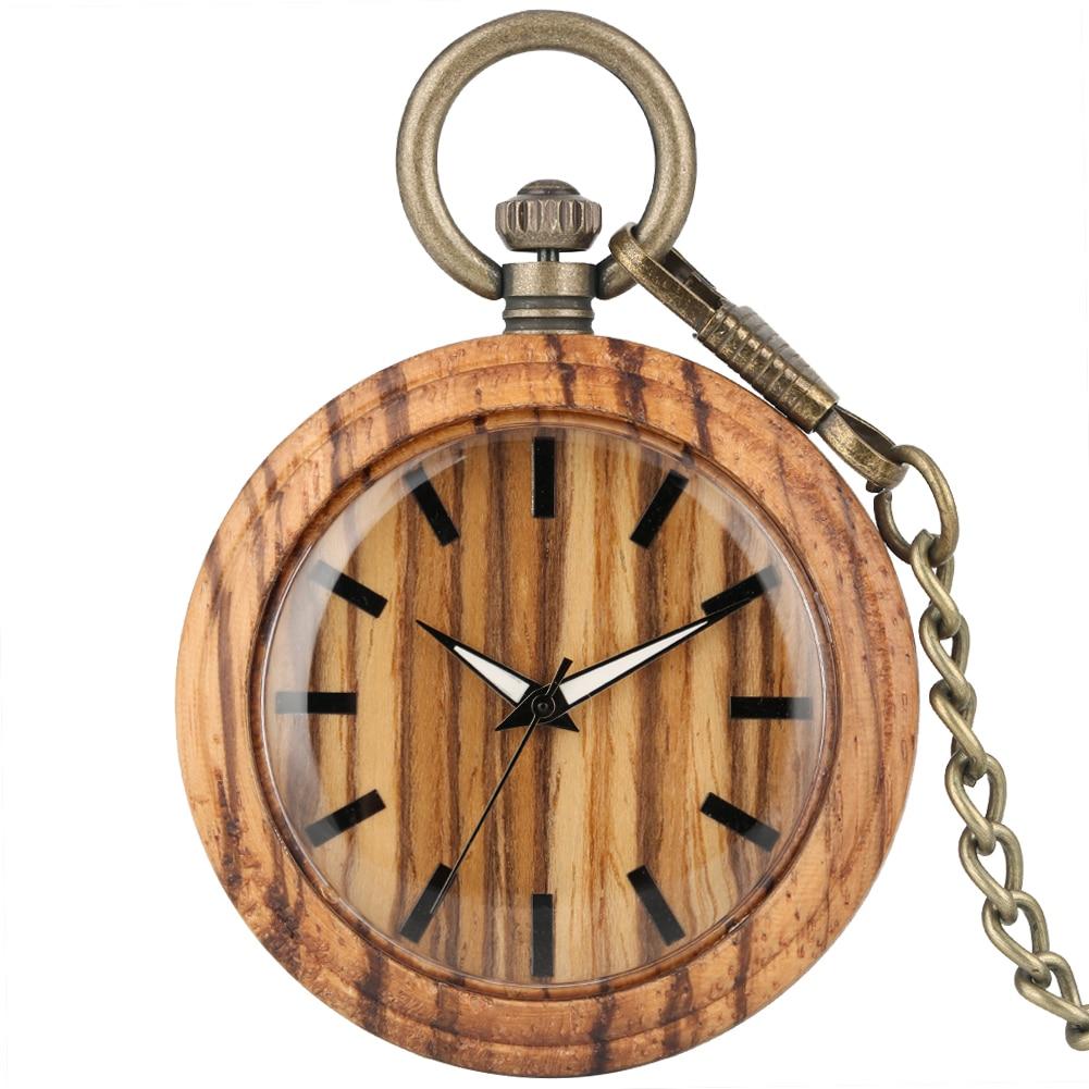 Solid Wooden Pocket Watch Men Simple Brown Dial With Luminous Pointers Necklace Clock Female Bronze Rough Chain Montre De Poche