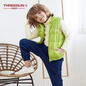 Image 4 - THREEGUN KIDS キッズガールズボーイズ子供 90% アヒルダウンジレタートルネックベスト冬の子供の幼児上着超軽量冬服