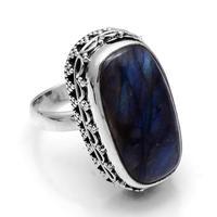 Genuine Labradorite Ring 925 Sterling Silver, USA Size : 6.75, 2SR644