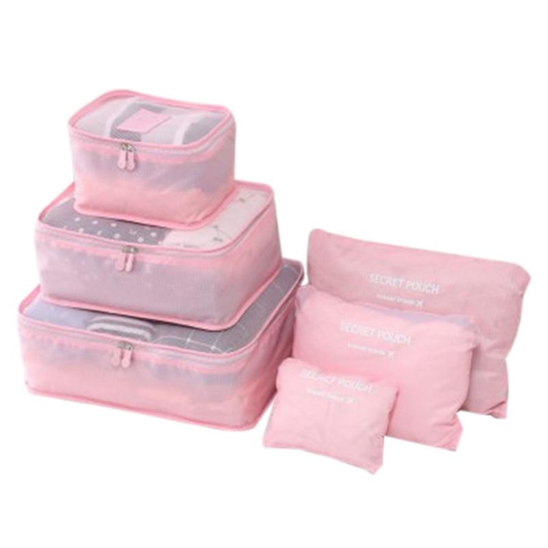 JHD-Travel Portable Storage Six-Piece Luggage Clothing Waterproof Finishing Bag Storage Bag Travel Business Travel Luggage Stora
