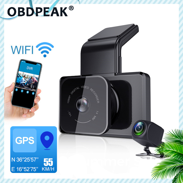 1080P WIFI Dash Cam GPS Track Car DVR 30FPS Ultra HD Super Night Vision Camera Video Recorder Auto Phone Connection 24H Parking 1