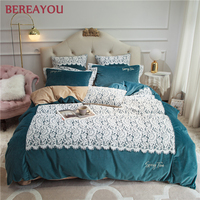 Luxury Bedding Sets Lace Duvet Cover Korean Flannel King Size Comforter Set Hotel Home Textile Queen Princess Christmas Bedding