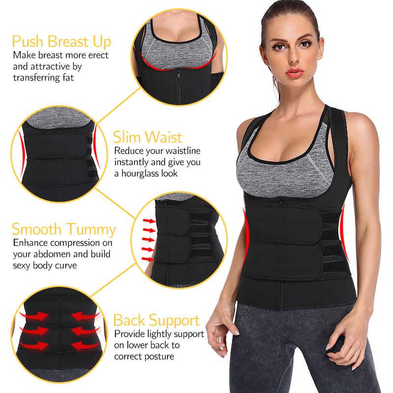 ผู้หญิงเอวเทรนเนอร์ Vest Corset ซาวน่าชุดสูทเหงื่อเสื้อ Slimming Body Shaper Workout TANK Tops ลดน้ำหนัก Shapewear