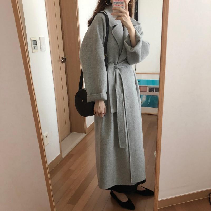 19 Winter Oversize Long Trench Coat Women Cashmere Coat Korean Lady Windbreaker Outwear Streetwear 11