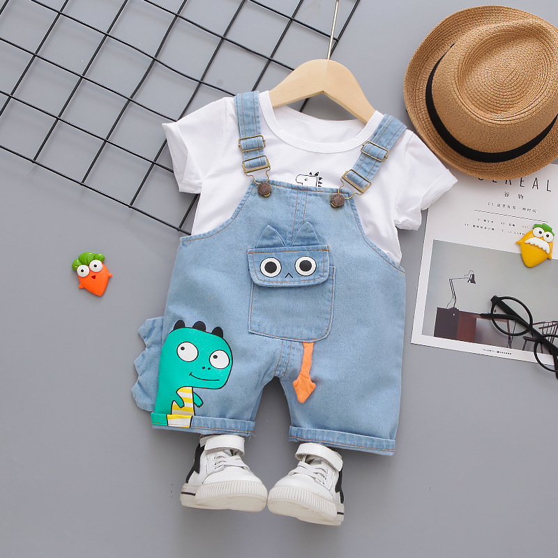 Denim Overalls Clothes Set for Baby Boys O-neck T-shirt Shorts 2 Pieces/Set New Short-sleeved Infant Children Kids Clothing 1