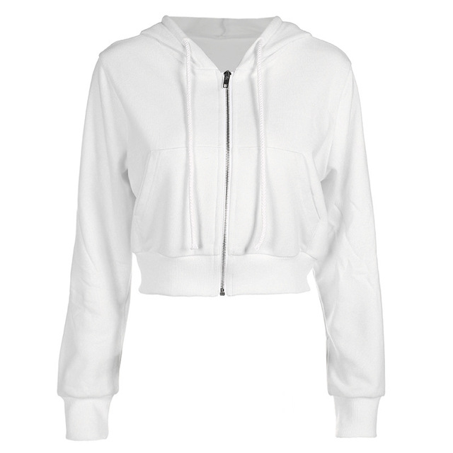Cropped Hooded Jacket with zip-up for woman