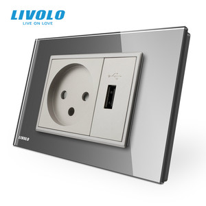 Image 3 - Livolo Power Socket with Usb Charger , White/Black Crystal Glass Panel, AC 250V16A  Wall Power Socket , VL C9C1IL1U 11/12