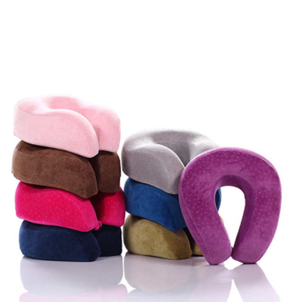 U Shaped Memory Foam Neck Pillows Comfort Neck Support Soft Velour Travel Cushion Cervical Healthcare Airplane Headrest Rucksack image