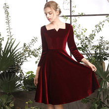 Formal Dress Women Elegant Evening 2019 Party Mini Sexy Short Velvet With Sleeves