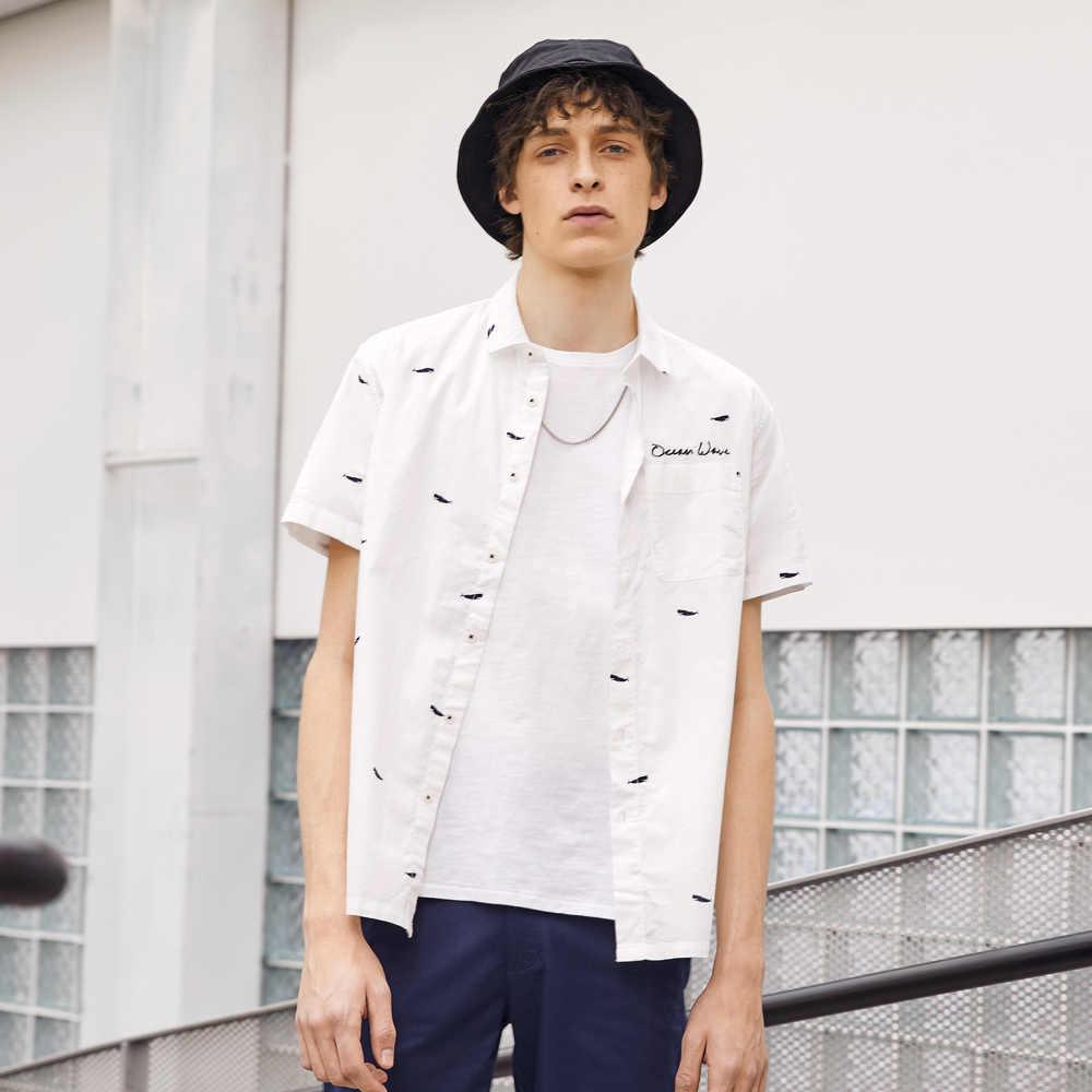 Metersbonwe masculina camisa de manga curta masculina inteligente casual camisa de algodão nova tendência verão barco impressão camisa casual