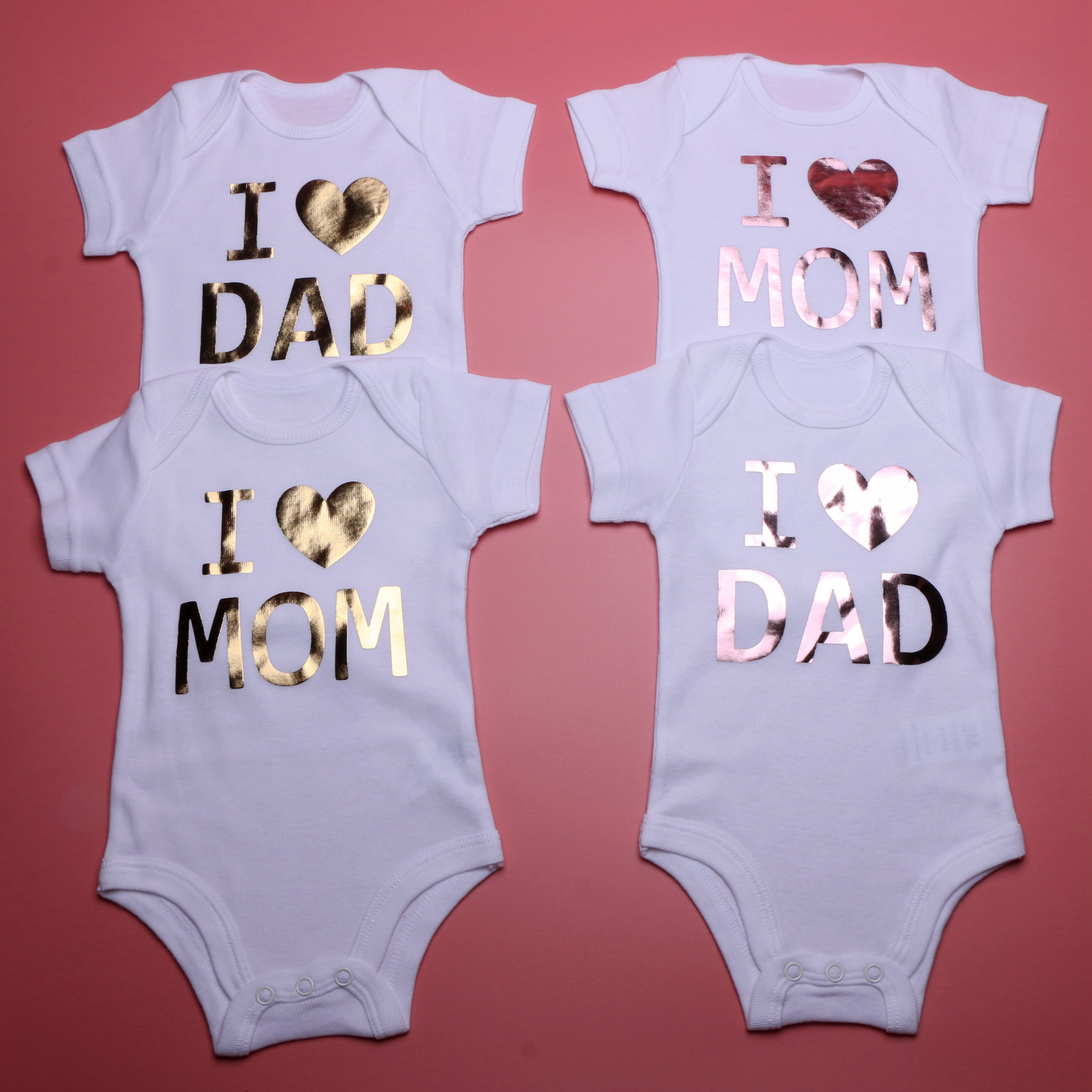 Newborn Baby Boys Girls Clothes Jumpsuits Onesies Short Sleeve Cotton Letter I Love Mom Cute Bodysuits Outfits Infant Clothing