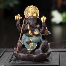Backflow Incense Burner Holder India Censer Lord Ganesha Cone Home Decor Ornament Buddhist Supplies Aroma 60XL015