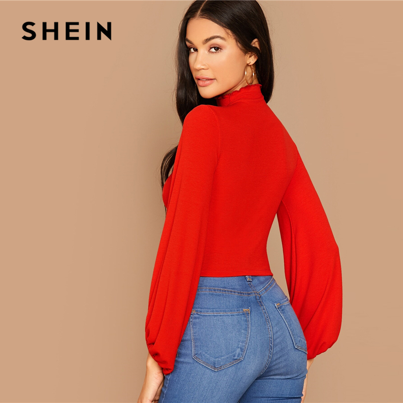 SHEIN Stand Collar Lantern Ruched Sleeve Rib-knit Crop Tee Without Necklace Women Autumn Solid Elegant Office Ladies T-shirts 2