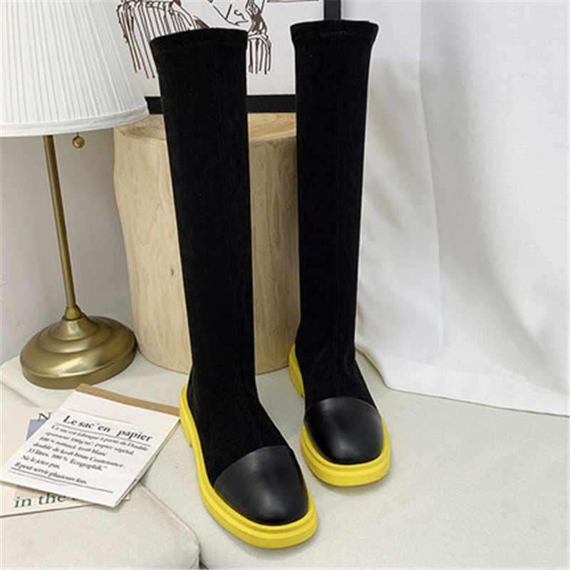 Troupeau de femmes Stretch bottes minces Sexy sur le genou haute femme mode automne hiver cuisse haute chaussette bottes chaussures Botas Mujer
