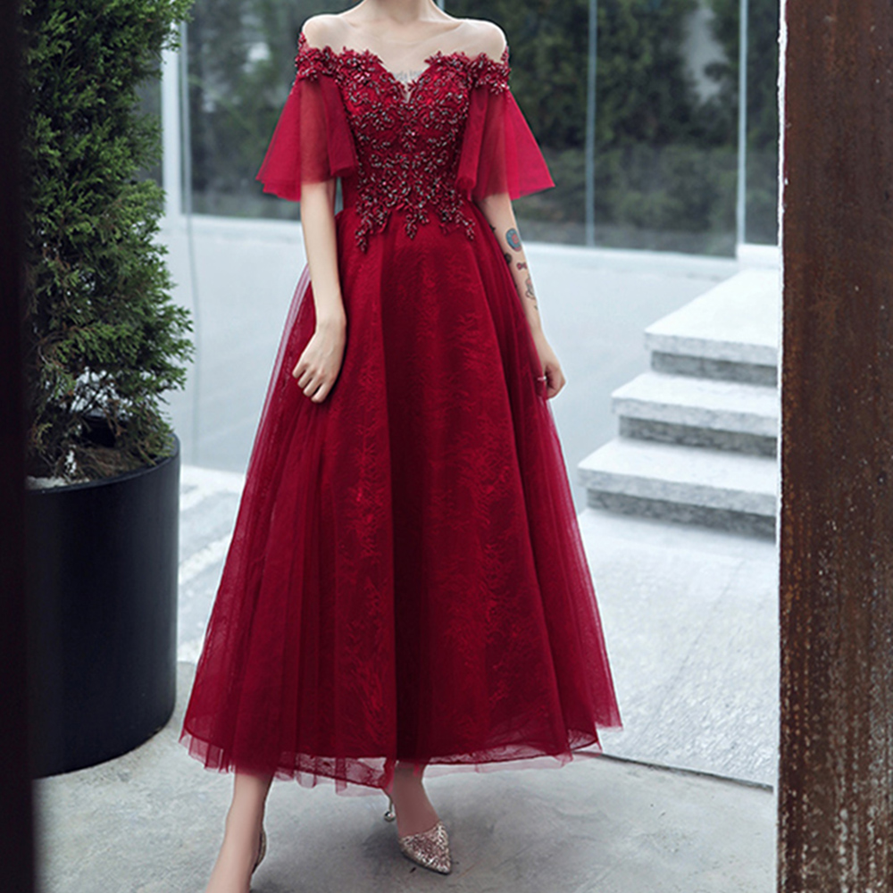 New Sexy Off The Shoulder Evening Dress Wine Red Medium Length Lace Applique Hand Beaded Bridal Fashion Princess Party Dress