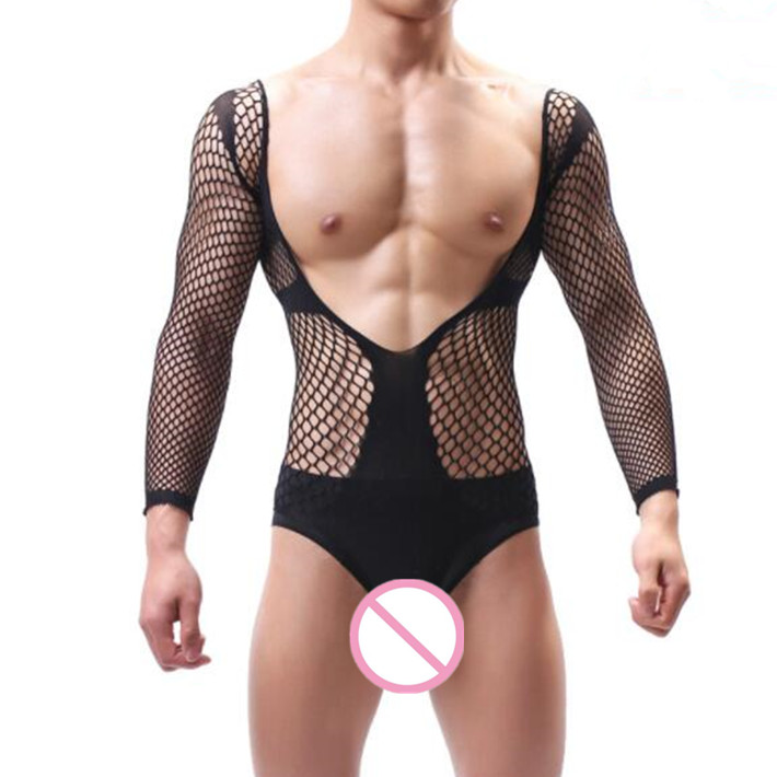 Men's Exotic Pajamas Male Underwear Sexy Jumpsuit Hot Man Sleepwear Sexy Lingerie Mens Fishnet Bodysuit For Happy Husband Gift