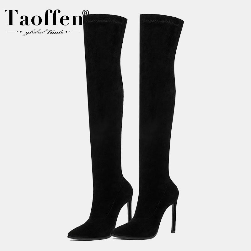 Taoffen <font><b>11</b></font> Color Women Over The Knee Boots <font><b>Sexy</b></font> Leopard Pointed Toe Winter <font><b>Shoes</b></font> Woman Party Classics Female Boots <font><b>Size</b></font> 34-43 image