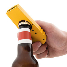 Portable Cap Gun Creative Flying Cap Launcher Bottle Beer Opener Bar Tool Drink Opening Gun Shaped Bottle Lids Shooter