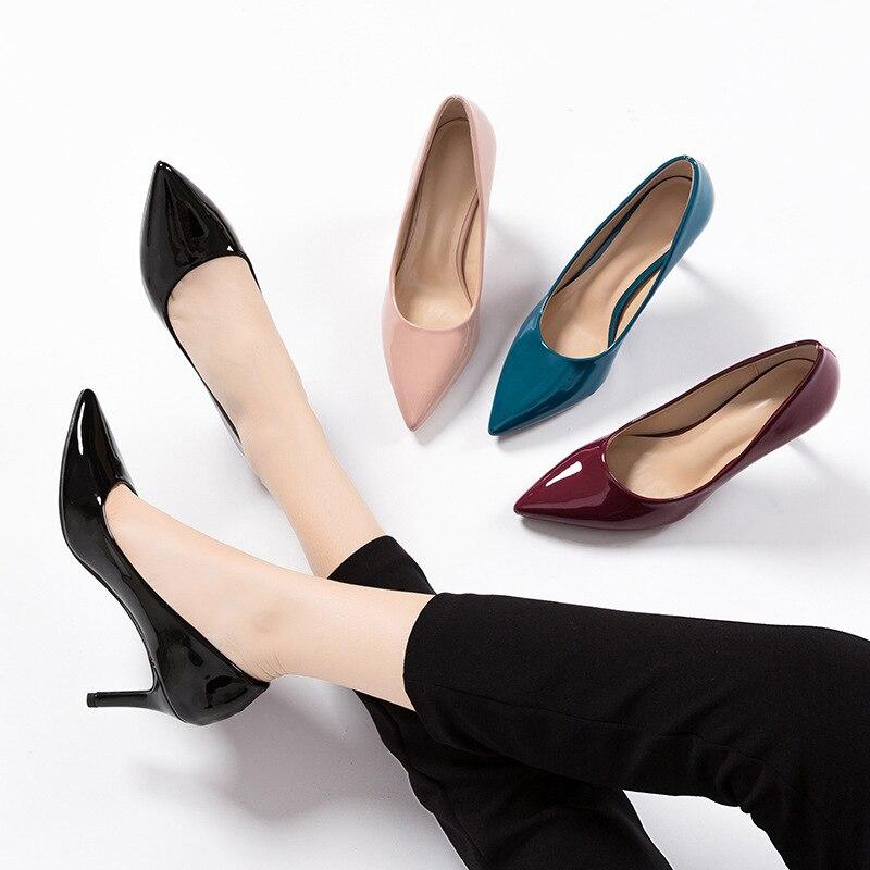 Begocool femmes bout pointu pompes talons hauts mode dames chaussures de bureau femme bas talons courts daim cuir verni noir nu