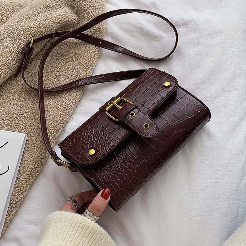 Mini Stone Pattern PU Leather Crossbody For Women Crossbody Shoulder Bag Female Winter Travel Handbags And Purses