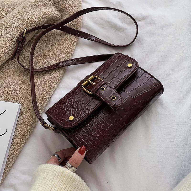 Mini Stone Pattern PU Leather Crossbody For Women Crossbody Shoulder Bag Female Winter Travel Handbags And Purses
