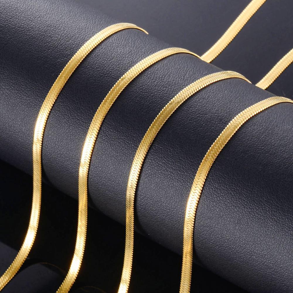 Золотая плоская цепочка из нержавеющей стали, модные женские модели, высококачественные ювелирные изделия