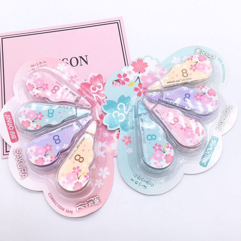 4Pcs/Set Cute Cartoon Tape 5mm*3m Kawaii Cherry Correction Tape School Writing Corrector Tools Office Supplies Korean Stationery