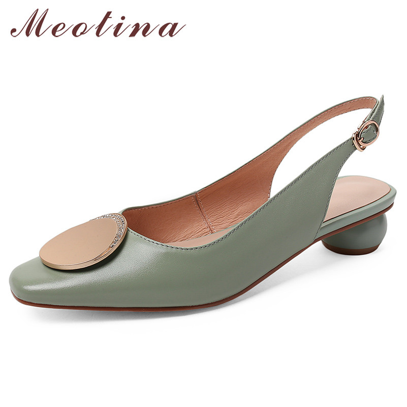 Meotina High Heels Women Shoes Natural Genuine Leather Strange Style Heel Slingbacks Shoes Real Leather Buckle Pumps Lady 33-43