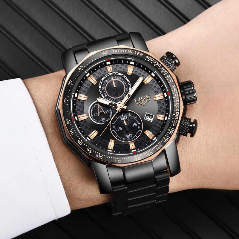 LIGE nuevo reloj cronógrafo deportivo para hombre, relojes de marca superior, reloj de cuarzo de acero completo, resistente al agua, reloj de esfera grande para hombre