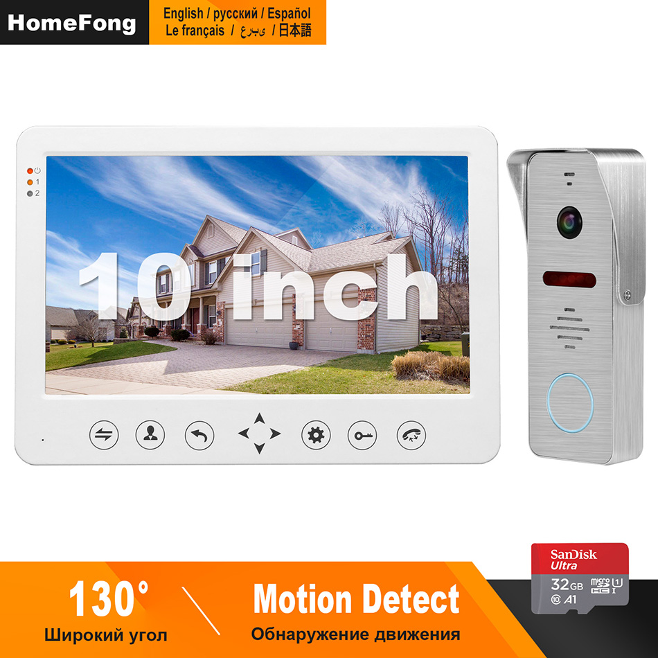 HomeFong Video Intercom 10 Inch Video Door Phone  1200TVL Wide Angle Camera Video Doorbell  Home Intercom Access Control System
