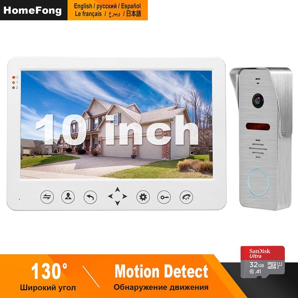 HomeFong Video Intercom 10 Inch Video Door Phone  1200TVL Wide Angle Camera Video Doorbell  Home Intercom Access Control System