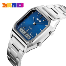 SKMEI 1220 Quartz Digital Wristwatches Men Fashion Casual Watch Stainless Steel Strap 30M Water Resistant Sports Watches cheap Alloy 25cm 3Bar Fashion Casual Bracelet Clasp Square 20mm 11mm Glass Alarm Back Light Shock Resistant Multiple Time Zone
