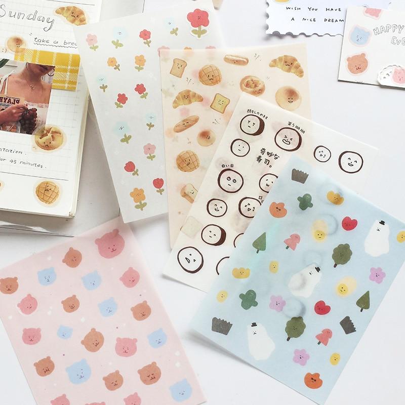 Mohamm 1 Sheet Flat Stickers Cute Face Food Cartoon Creative Daily Life Stationary Scrapbooking Gift Girl School Supplies