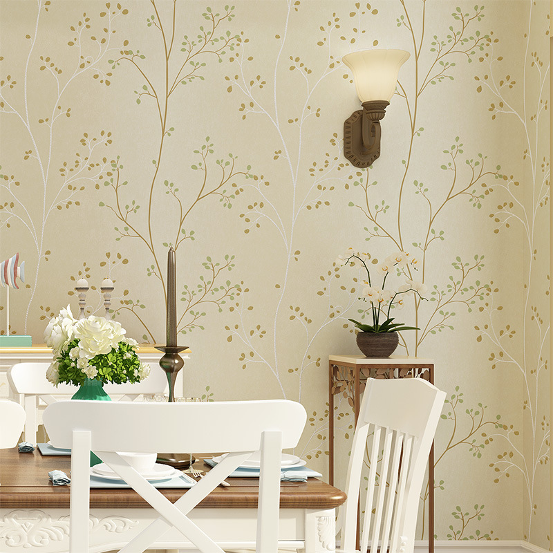 American Vintage Non-woven Wallpaper Thick Nonwoven Fabric Small Tree TV Backdrop Bedroom Living Room Wallpaper Wholesale