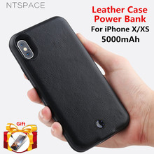 For iPhone X XS 7 8 6 6S Power Case External Battery Bank Leather Plus 6s