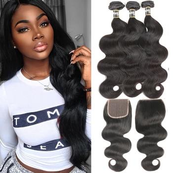 Черные жемчужные бразильские пучки волос, волнистые пучки с закрыванием, не Реми, человеческие волосы 3 4 пучка с закрыванием