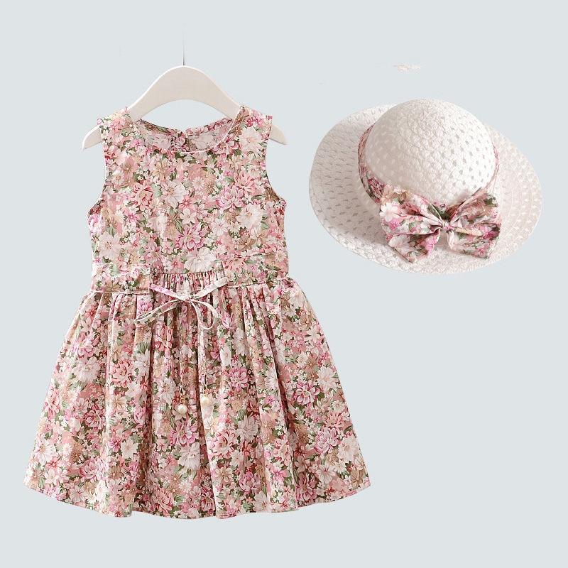 2 pièces/ensemble filles robe + chapeau coton confortable enfants robe 2021 été robe florale filles sans manches robe pour les enfants