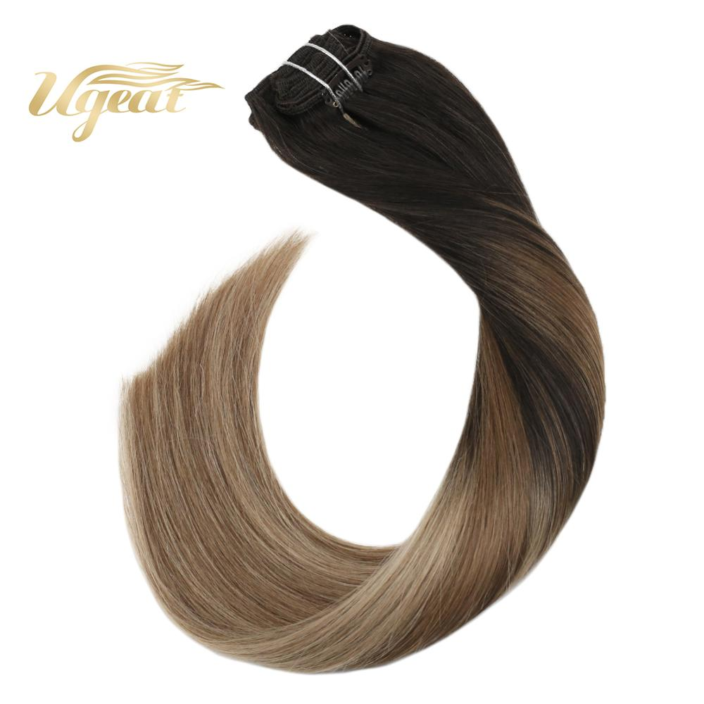 Ugeat Clip In Full Head Hair Extensions Machine Made Remy Human Hair 14-22