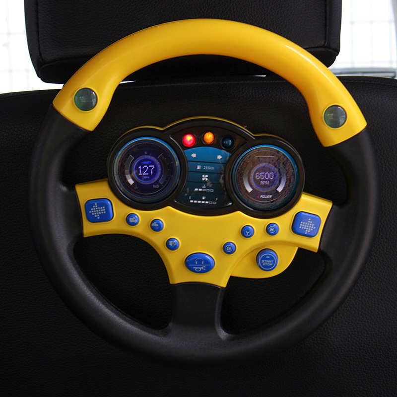 Baby Pretend Play Toys Simulation Steering Wheel with Light and Music Children's Vehicle Toys Simulation Driving Toys