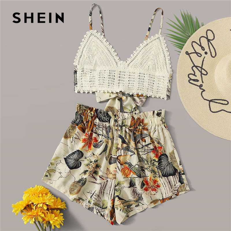 SHEIN Multicolor Tie Back Crochet Bralette Top and Paperbag Waist Shorts Set Summer Sleeveless Wide Leg Women Boho Two Piece Set
